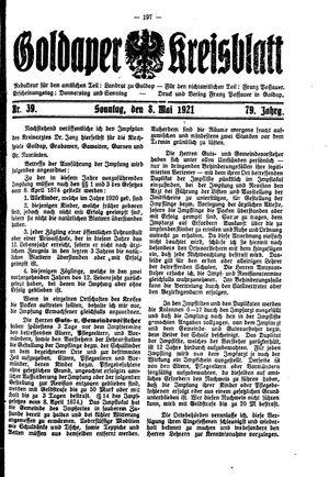 Goldaper Kreisblatt vom 08.05.1921