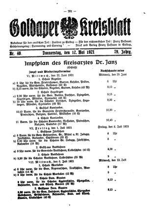 Goldaper Kreisblatt vom 12.05.1921