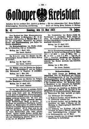 Goldaper Kreisblatt vom 15.05.1921