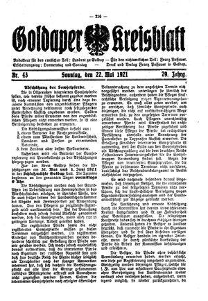Goldaper Kreisblatt vom 22.05.1921