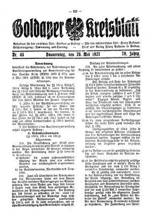 Goldaper Kreisblatt vom 26.05.1921