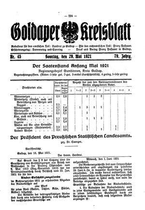 Goldaper Kreisblatt vom 29.05.1921