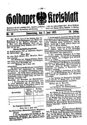 Goldaper Kreisblatt vom 02.06.1921
