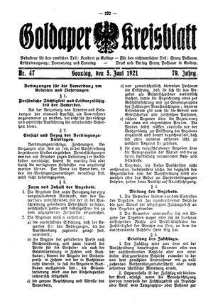 Goldaper Kreisblatt vom 05.06.1921