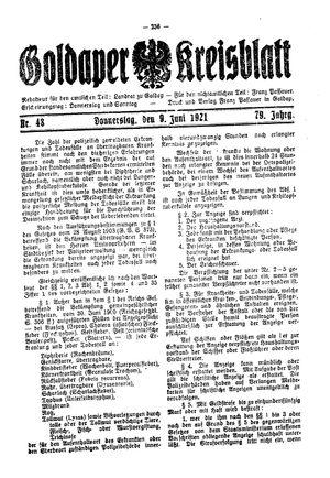Goldaper Kreisblatt vom 09.06.1921