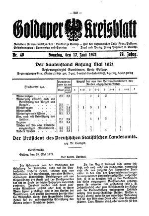 Goldaper Kreisblatt vom 12.06.1921