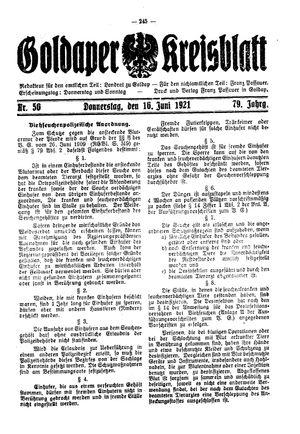 Goldaper Kreisblatt vom 16.06.1921