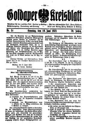 Goldaper Kreisblatt vom 19.06.1921