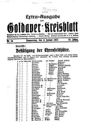 Goldaper Kreisblatt vom 04.01.1923