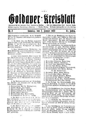 Goldaper Kreisblatt vom 07.01.1923