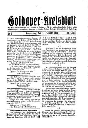 Goldaper Kreisblatt vom 11.01.1923