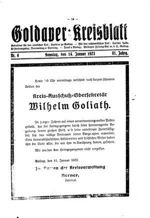 Goldaper Kreisblatt vom 14.01.1923