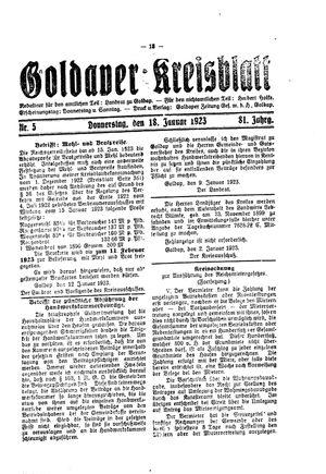 Goldaper Kreisblatt vom 18.01.1923