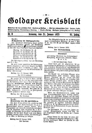 Goldaper Kreisblatt vom 21.01.1923