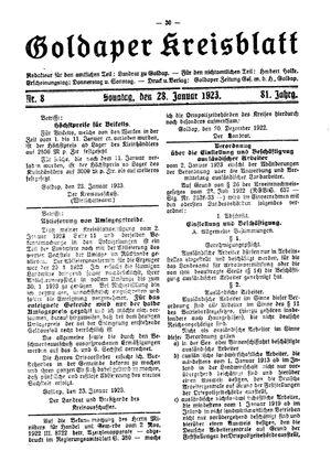 Goldaper Kreisblatt vom 28.01.1923