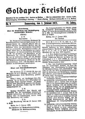 Goldaper Kreisblatt on Feb 1, 1923