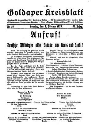Goldaper Kreisblatt vom 04.02.1923