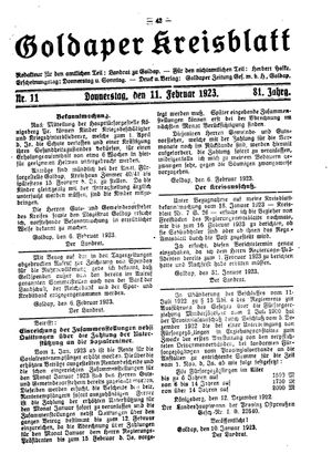 Goldaper Kreisblatt vom 11.02.1923