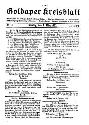 Goldaper Kreisblatt vom 04.03.1923