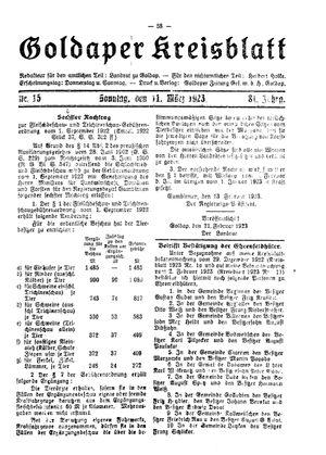 Goldaper Kreisblatt vom 11.03.1923