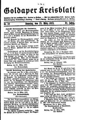 Goldaper Kreisblatt vom 25.03.1923