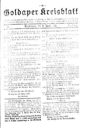 Goldaper Kreisblatt on Apr 5, 1923