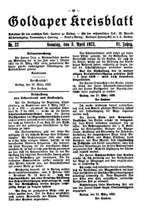 Goldaper Kreisblatt vom 08.04.1923