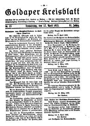 Goldaper Kreisblatt vom 12.04.1923