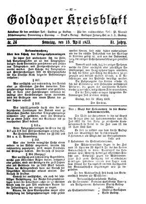 Goldaper Kreisblatt on Apr 15, 1923
