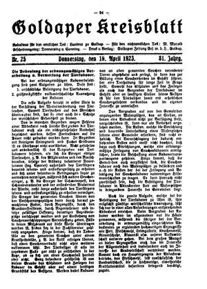 Goldaper Kreisblatt vom 19.04.1923