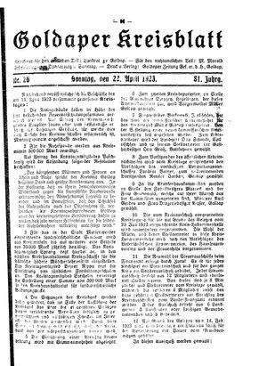 Goldaper Kreisblatt vom 22.04.1923