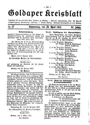 Goldaper Kreisblatt vom 26.04.1923
