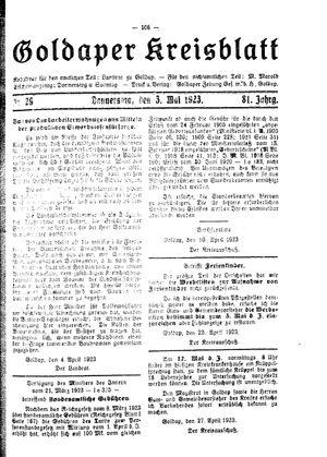 Goldaper Kreisblatt vom 03.05.1923
