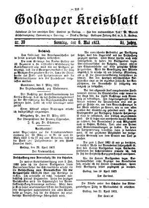 Goldaper Kreisblatt vom 06.05.1923
