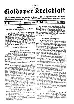 Goldaper Kreisblatt vom 13.05.1923