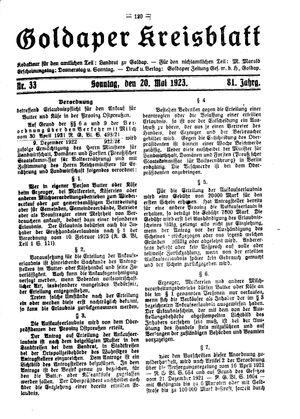 Goldaper Kreisblatt vom 20.05.1923