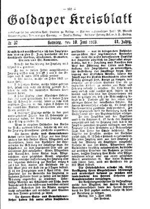 Goldaper Kreisblatt vom 10.06.1923