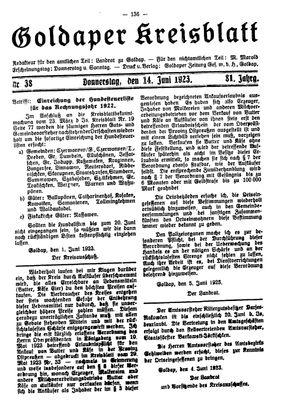 Goldaper Kreisblatt vom 14.06.1923