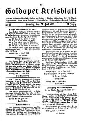 Goldaper Kreisblatt vom 24.06.1923