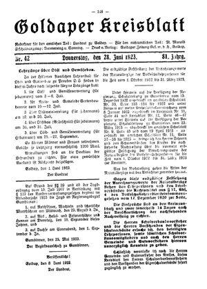 Goldaper Kreisblatt vom 28.06.1923