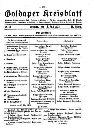 Goldaper Kreisblatt vom 15.07.1923