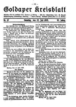 Goldaper Kreisblatt vom 22.07.1923