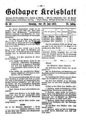 Goldaper Kreisblatt vom 29.07.1923
