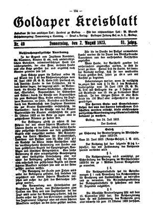 Goldaper Kreisblatt vom 02.08.1923