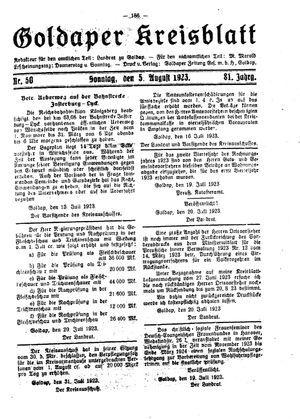 Goldaper Kreisblatt vom 05.08.1923