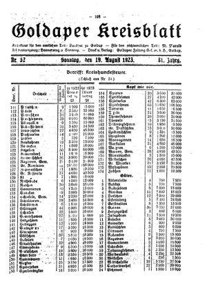 Goldaper Kreisblatt vom 19.08.1923