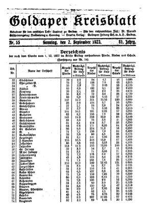 Goldaper Kreisblatt vom 02.09.1923