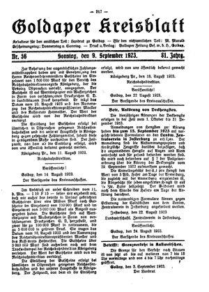 Goldaper Kreisblatt vom 09.09.1923