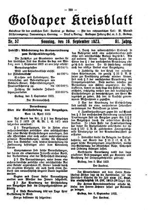 Goldaper Kreisblatt vom 16.09.1923