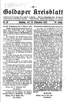 Goldaper Kreisblatt vom 23.09.1923